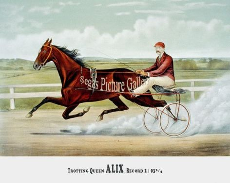 Fine art Horseracing Print of the 1800's Racing and Trotting of the Champion Trotting Queen Alix by Patron Age